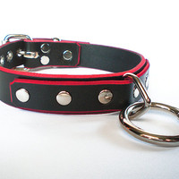 "1"" Black Leather w/ Red Edging Fetish BDSM Collar with bondage ring- for slave or sub"