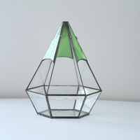VIntage Teardrop Geometric Terrarium Green Stained Glass Tabletop Plant Trinket Display
