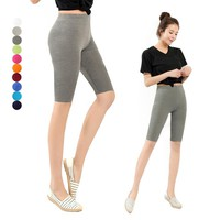Women  Knee Length Elastic Solid Color Ladies Casual Trousers  Fitness  Plus Size 3-5XL H9