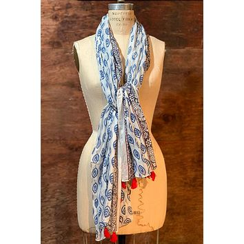 Dolma Cotton Handwoven Scarf in Navy
