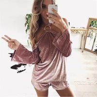 Strapless Long Sleeve Tops And Bottoms [9643029711]