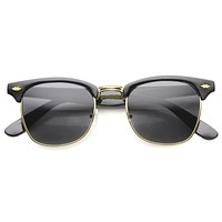 Vintage Dapper Half Frame Horned Rim Sunglasses 9847
