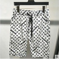 LV X Supreme Louis Vuitton Trending Women Men Stylish Personality Full Logo Print Sport Shorts White I13590-1