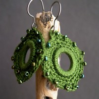 Olive Green Crochet Earrings - Unique Mother's day present - Lace Fashion earrings - Indian Style Earrings - Boho Chic - Original unique