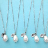 White Pear, Italic Font, Set of 5, Bridesmaid, Silver Initial Necklace   simplecrystal - Jewelry on ArtFire