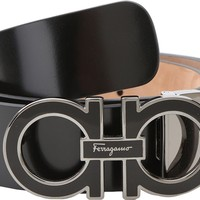 Salvatore Ferragamo Men's Adjustable Shiny Lux Nero Belt 46