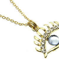 NECKLACE / LINK / METAL / BURNISH / CRYSTAL STONE / EVIL EYE / 3/4 INCH DROP / 16 INCH LONG / NICKEL AND LEAD COMPLIANT