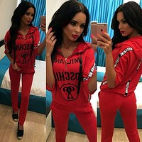 x1love  ''MOSCHINO''Casual Print Hoodie Top Sweater Pants Trousers Set Two-piece Sportswear