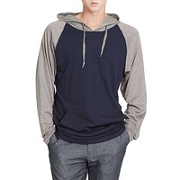 Mens Color Block Raglan Hoodie Shirt (CLEARANCE)