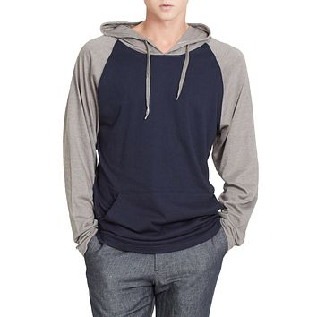 Mens Lightweight Color Block Raglan Pullover Hoodie Shirt (CLEARANCE)