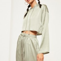 Missguided - Green Cropped Satin Hoodie