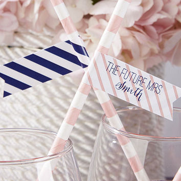 Personalized Nautical Bridal Shower Straw Flags (Set of 25)