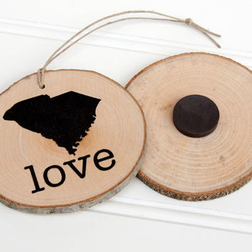 South Carolina Love state shape wood slice ornament or magnet Set of 4.  Wedding favor, Bridal Shower, Country Chic, Rustic, Valentine Gift