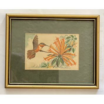 Vintage English Woven Silk Rufous Hummingbird Matted in Gold Frame