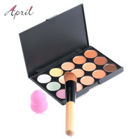 New 15 Colors Contour Face Cream Makeup Set for Pincel Maquiagem Concealer Palette with Powder Puff Brush Make Up Cosmetic Set