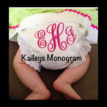 Monogrammed Diaper Covers Baby Bloomers Eyelet Cotton Baby Shower Gift New Baby Girl Embroidered Panty Kaileys Monogram Kaileysmonogram