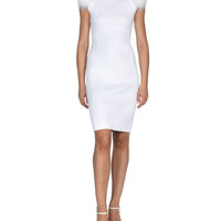 Fendi Fox-Fur Sleeve Herringbone Sheath Dress, White