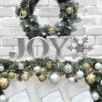 "Holiday Time 8"" Decorative JOY Letter Set, Glitter Silver - Walmart.com"
