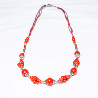 Fire Dragon Afghanistan Red Coral Necklace with Silver Plated Beads