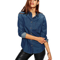 Denim Convertible Collar Long Sleeve Blouse with Pocket