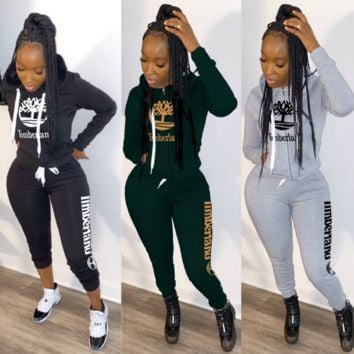 Timerland Fashion Casual Print Hoodie Top Sweater Pants Trousers Set Two-piece High quality Sportswear