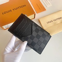 Louis Vuitton LV new men's and women's fashion printing ultra-thin small wallet