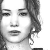 Jennifer Lawrence, Katniss Everdeen, The Hunger Games, Pencil Drawing, Portrait, 8x10 Art Print, by Wendy Hogue Berry
