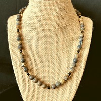 Mens Artistic Stone Gray and Black Onyx Beaded Necklace