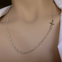 Sideways Cross Necklace - Crystal Clear Quartz Beaded Chain and Sterling Silver