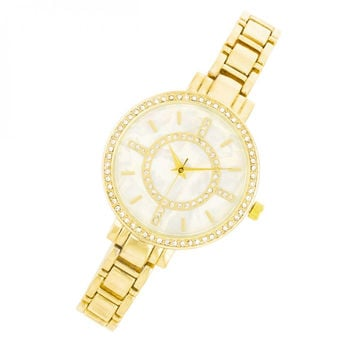 Classic Gold Metal Watch With Crystals