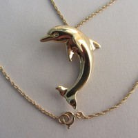 Large 14k Solid Gold 2D Dolphin Pendant Necklace - 18'x 1mm - 4.67g