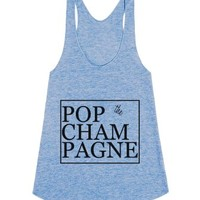 Pop The Champagne-Female Athletic Blue Tank