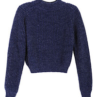 Dark Blue Long Sleeve Crop Knitted Jumper