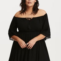 Gauze Crochet Trim Peasant Skater Dress