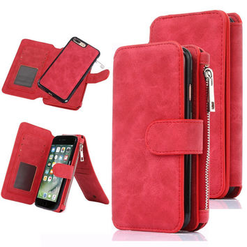 Wallet case for iPhone 7 Plus, super organizer wallet purse 12 cards holder with detachable phone case protective cover-Red