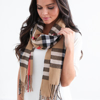Cashmere Blend Plaid Scarf - Taupe