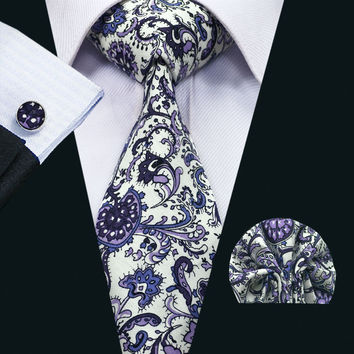 New Arrival Fashion Colorful Cotton Ties For Men High Quality Necktie Cuff links Set For Wedding Party