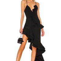 Loulou Black Ruffled Asymmetrical Dress