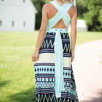 All My Ways Mint Chevron Criss Cross Maxi