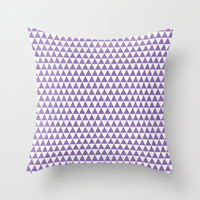 triangles- purple and white Throw Pillow by her art