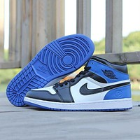 Nike Air Jordan Retro 1 High Tops Contrast Sports shoes Blue Black hook G-CSXY