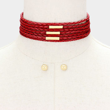"""12""""  faux braided leather choker collar necklace .30"""" earrings 1.50"""" wide"""