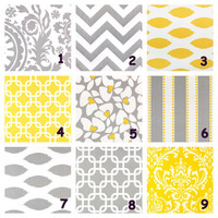 """Yellow, Grey Pillows Throw Pillows 20 inch Throw Pillow COVERS 20"""" Designer Fabric FRONT and BACK Gray Mix & Match"""