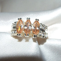 Vintage Peach Morganite Triple Marquise and Clear Round Brilliant Two Row Estate Ring, Sterling Silver