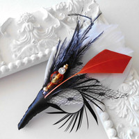 Wedding Boutonniere Prom Mens Feather Boutonniere Lapel Pin in White,Orange, Black Groomsman Groom