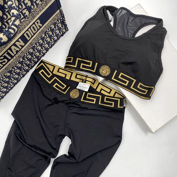Versace hot sale new product women's two-piece yoga wear sportswear