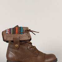Terra-06 Tribal Cuff Lace Up Military Mid Calf Boot