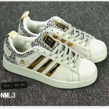 Adidas Shell Toe Sneakers Sport Shoes golden logo H-A36H-MY