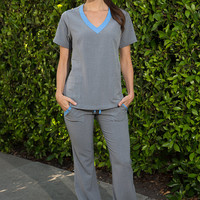 Blue and Gray Nursing Uniform Medical Scrubs Dental Hygienist Top Shirt