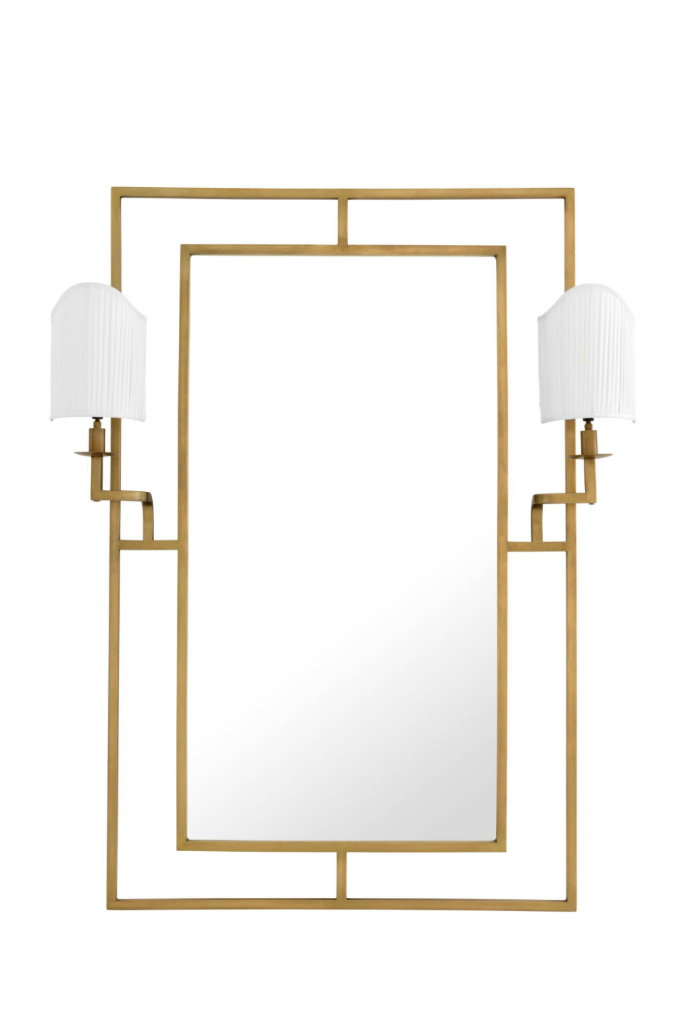 Image of Gold Mirror With 2 Lamps | Eichholtz Astaire